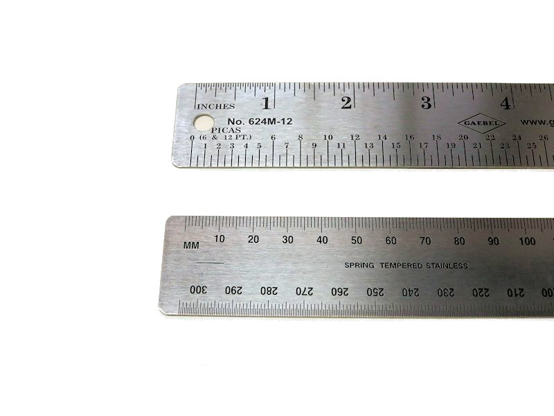 Stainless Ruler inch/mm/pica