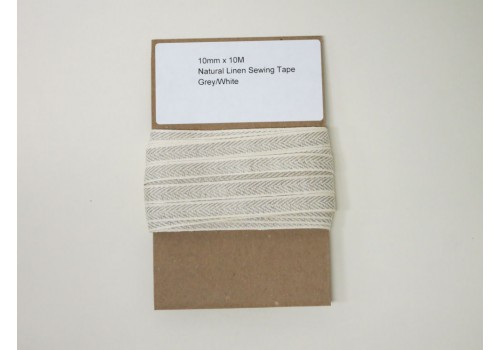 Natural Linen Sewing Tape - Grey/White - 10m/pk